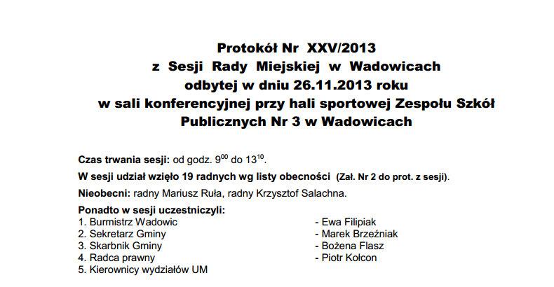 protokół sesji XXV z 26 11 2013